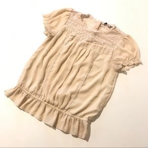 Forever 21 Creme Chiffon Sheer Lace Top Size Small